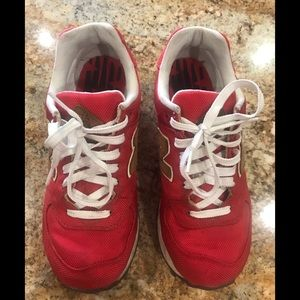 New Balance used shoes size 8 red great condition